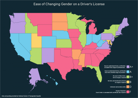 Ease of Changing Gender on Drivers Licenses (NCTE)